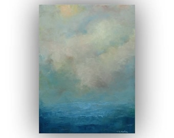 Seascape Oil Painting- Small 12 x 16 Blue Ocean Sky and Clouds Art on Canvas- Original Palette Knife Painting