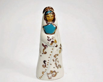Little Madonna Goddess Gold, Teal and White Ceramic Miniature With Gold Luster Art Sculpture Religious Statue