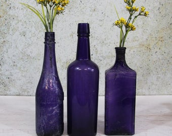 Vintage PURPLE BOTTLE Lot - Amethyst Antique Bottles- Curtice Brothers Rochester NY- Large Bottles- Wedding Decor- R5