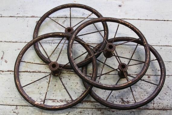Antique Buggy Wheels Vintage Baby Pram Set Of Wheels Metal