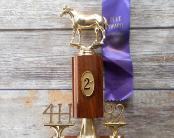 1982 Horse Trophy And Ribbon Second Place Aged Shetland Pony 4 H Ranch Decor