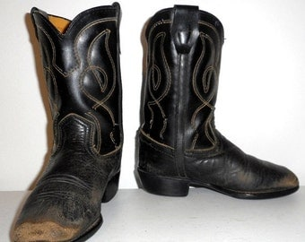 Vintage Baby Cowboy Boots Black Country Western Ranch Decor Size 9.5 Doll Cloths