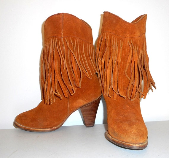 womens size 6 5 high heel fringe boots by