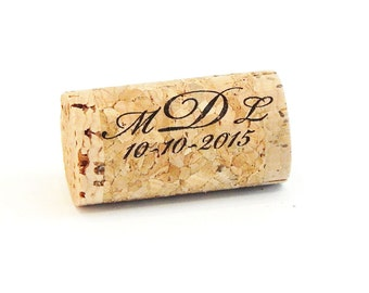 Monogram Personalized Whole Corks, Wedding Decor or Guest Book Option