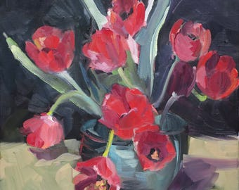 impressionistic painting red tulips - impressionistic still life - artist Linda Hunt - floral - contemporary floral painting -12x12 - unique