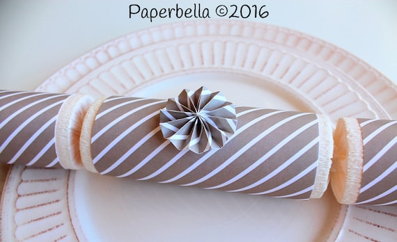 Fill Your Own Party Crackers Wedding Neutral Gray Striped Party Popper, Personalize with Your Monogram and a Paper Rosette