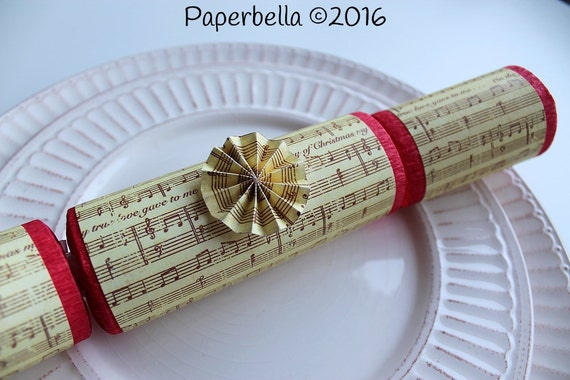 Fill Your Own Party Crackers Christmas Carol Sheet Music Party Popper, Personalize with Your Monogram and a Paper Rosette or Star Sequins
