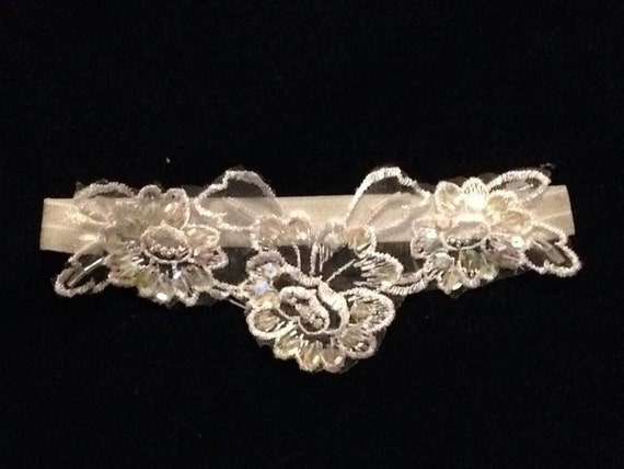 Venice and Sequins Wedding Bridal Garter Bride's Garter Belt Soft and Comfortable  Shabby Chic