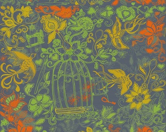 Birdcage Sewing Machine Floral Fabric - Vintage Garden By Honoluludesign - Gray Green Orange Cotton Fabric by the Yard With Spoonflower