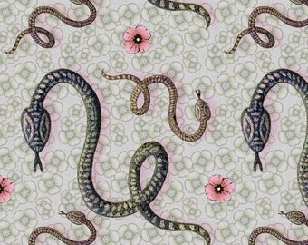 Garden Snake Fabric - Snake Year With Flowers By Lucybaribeau - Garden Snake Cotton Fabric By The Yard With Spoonflower