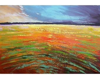 original painting seascape water minimalist acrylic landscape sunset field salmon teal rust aqua 24x36