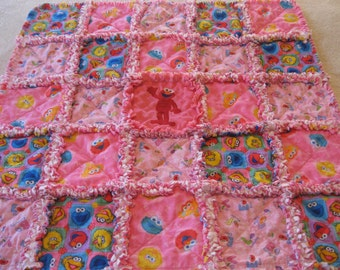 Elmo Sesame Street Cookie Monster Big Bird  Baby Girl Rag Quilt Blanket