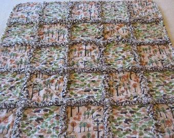 Forest Friends Camo Baby Boy Rag Quilt Blanket Baby Boy Shower Gift Stroller Blanket Crib Blanket Baby Boy Rag Blanket Forest Rag Blanket