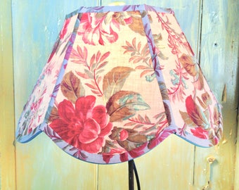 "Scallop Lampshade, French Floral Lamp Shade 7""t x 14""b x 9""h, Rosy Red with touches of Turquoise, Handmade Lamp Shade - 1920s Vintage Fabric"