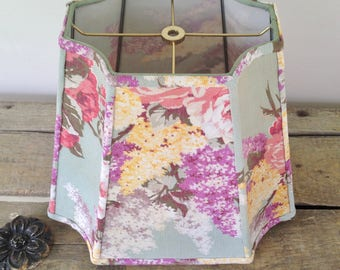 """Sale: Lilac Rectangle Lamp Shade, Shabby Chic Lampshade, Vintage Floral Fabric, Table Lampshade, Floor Lampshade 9""""x13""""x11"""""""