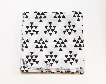 Black and White Triangles Swaddling Cocoon Blanket
