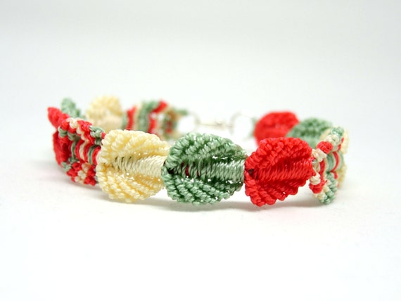 Holiday Falling Leaves Micro Macrame Bracelet - Vintage Christmas Colors - Pale Yellow, Light Green and Coral - Holiday Bracelet