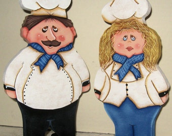 Chef Kitchen Shelf Sitters,Kitchen Shelf Sitters,Baker Chef Cutouts, Country Kitchen Decor,Unique Kitchen Decor,Unique Gifts,Wood Chefs