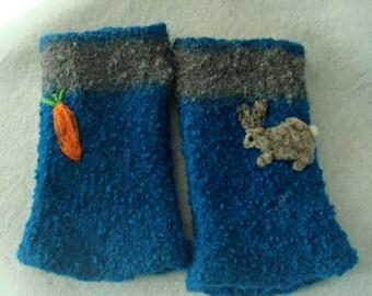 Felted Gloves, Fingerless Gloves, Alpaca Gloves,
