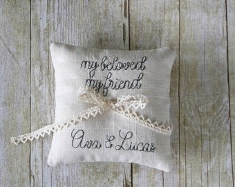 Custom Quote with Names and Date Embroidered Petite Linen Ring Bearer Pillow - Choose Your Colors, 5 x 5 inches