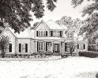 PEN & INK HOME Portrait from Your Photograph by Suzanne Churchill, Realtor Closing Gift, Housewarming Gift, Parent Gift or Anniversary Gift