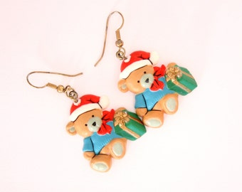 Christmas Teddy Bear Earrings Pierced Vintage Dangles Red Green Colorful
