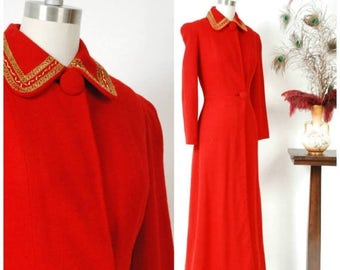 SALE - Vintage 1940s Coat - The Hollywood Royalty Coat - Phenomenal Lipstick Red Full Length 40s Coat with Metallic Soutache & Studded Colla