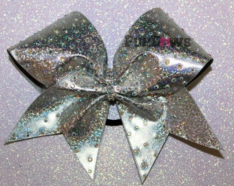 GORGEOUS Holographic Cheerleading bow with AB Rhinestones by FunBows !