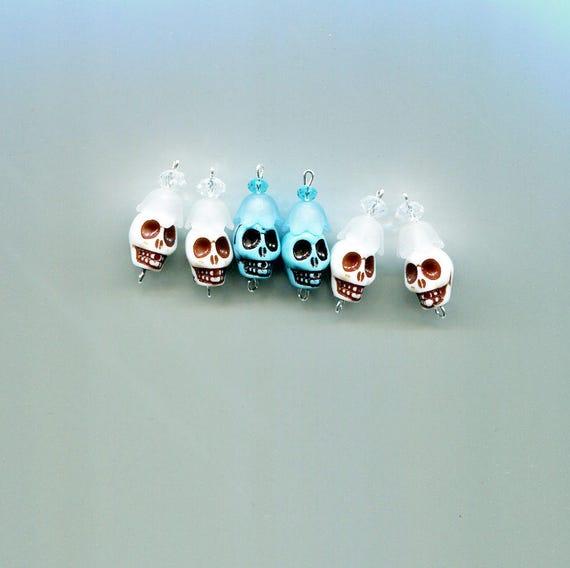 day of the dead sugar skull beads skull flower skull charms skull bead drop skull pendants plastic 25mm 6 pc blue white skull beads