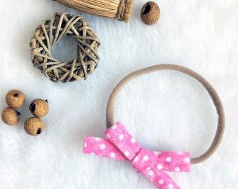 Mini bow nylon headband pink white dots, one size nylon headband girl newborn baby toddler child head scarf hair wrap photo prop shower gift