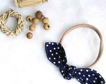 Newborn knot bow nylon headband, navy blue white dots, baby toddler child, head scarf hair wrap, cotton handmade, photo prop, shower gift
