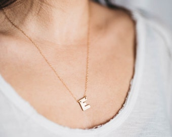 Gold Initial necklace, vintage, 14k gold chain, brass, letter