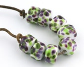 Green and Violet Drops Handmade Lampwork Glass Beads (8 Count) by Pink Beach Studios SRA (2036)