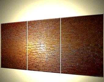 Original Large Abstract Painting Gold Bronze Texture Modern Palette Knife Art Thick Textured Painting by Lafferty - 72x30
