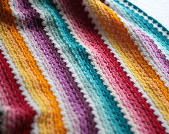 Granny Stripe Baby Blanket, Ombre baby afghan