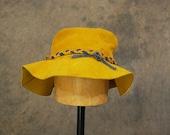 RESERVED vintage 70s Suede Floppy Hat - 1970s Boho Mustard Yellow Wide Brim Hat - Hippie Festival Bucket Hat