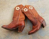 vintage 70s Acme Cowgirl Boots - 1970s Flower Cowboy Boots - High Heeled Western Boots Sz 7 38