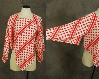 Clearance Sale vintage 70s Angel Sleeve Blouse - 1970s Stripe and Polka Dots Handkercheif Hem Tunic Top Bell Sleeved Shirt Sz L