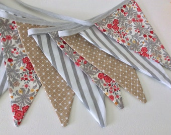 Sale 30% off Grey and red bunting - a fabric garland for all seasons,  Fabric Garland, Flag banner