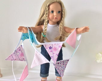 "Jessica Bunting / fabric banner - 14 mini flags in pinks and blues, bike basket bunting, 18"" dolls house"