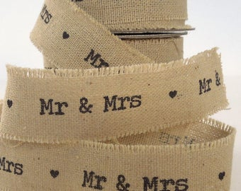 Wedding Ribbon, 22 mm 'Mr & Mrs' Linen Ribbon, 7/8 inch Frayed Edge Linen and Cotton Wedding Tape, 2 Metre Length of Ribbon