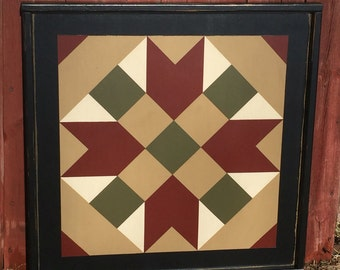 PriMiTiVe Hand-Painted Barn Quilt, Small Frame 2' x 2' - Farmer's Daughter Pattern