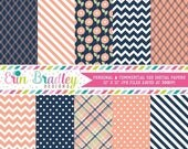 70% OFF SALE Peach and Navy Blue Digital Paper Set Commercial Use Instant Download