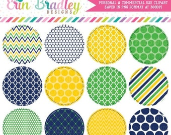 50% OFF SALE Circle Frames Clipart in Kelly Green Navy Blue & Yellow, Commercial Use Digital Label Clip Art