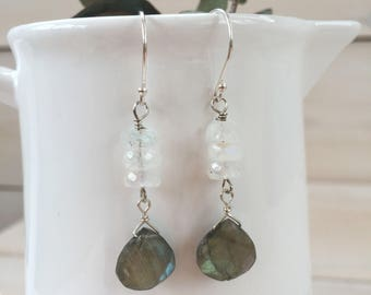 Faceted Moonstone and Labradorite Teardrop Earrings