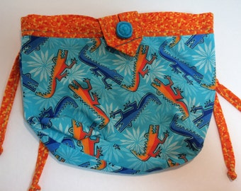 Turquoise and Orange Alligators Sidekick Knitting Pouch Fanny Pack