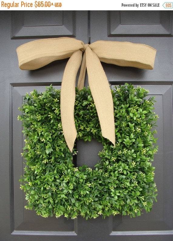 SPRING WREATH SALE Square Artificial Boxwood Wreath with Burlap Ribbon 14-24 inch sizes available, Wedding Decoration