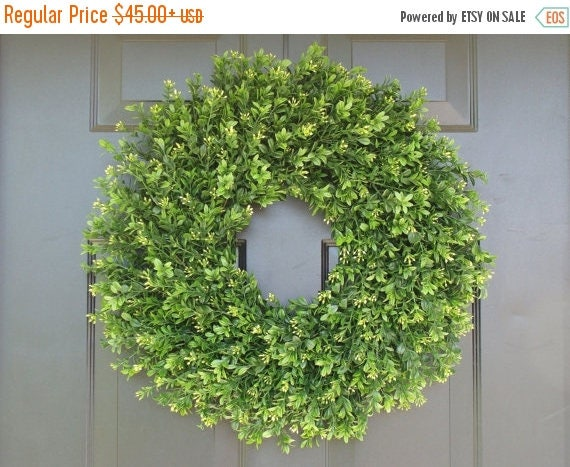 SPRING WREATH SALE Thin, Xl Artificial Boxwood Wreath- Summer Door Wreaths- Wall Decor Sizes 14-22 inch available