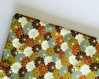 Fabric, Green, Mustard, Crimson, Brown, Gold, Golden, Japanese, Japan, Canvas, crafting, Asia, culture, flower, flowers, textile, ONE YARD