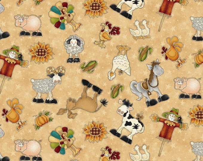 Children's Fabric, McAnderson Farm Tan Multi Character Cotton Fabric by Leanne Anderson for Henry Glass